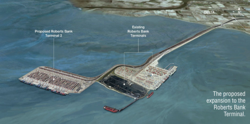 The proposed expansion to Roberts Bank Terminal. Photo courtesy of the Government of Canada.